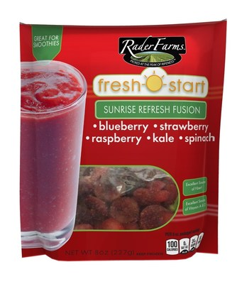 Rader Farms new Fresh Start blends smoothie kits feature pre-mixed frozen fruit & veggies.