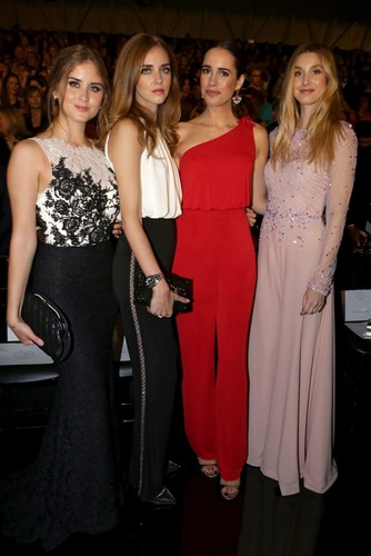 Valentina Ferragni Chiara Ferragni Louise Roe and Whitney Port  Front Row Pronovias Fashion Show (PRNewsFoto/PRONOVIAS)