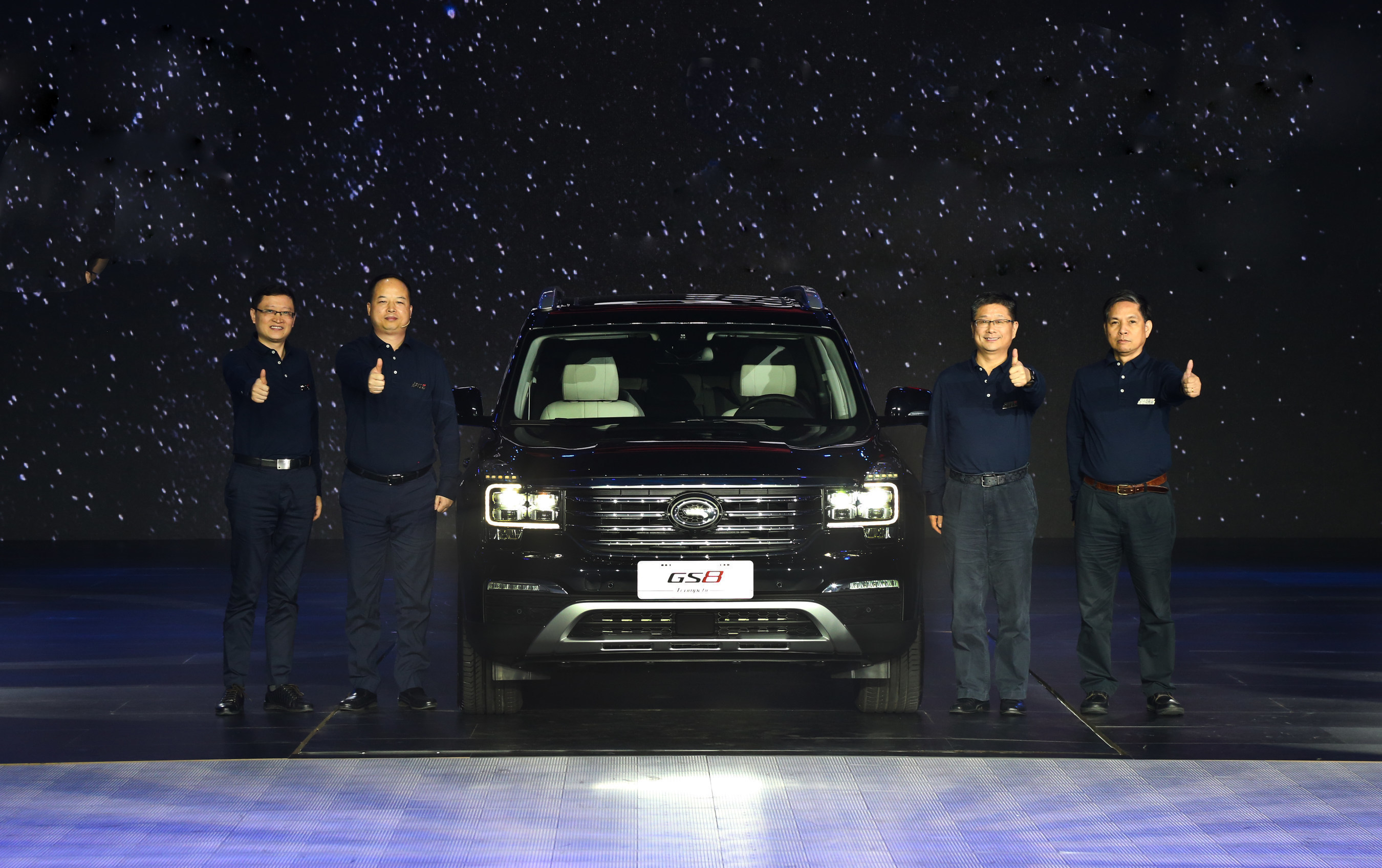 From left to right is: Vice general manager of GAC Motor Xiao Yong, general manager of GAC Motor Yu Jun, dean of GAC Engineering Wang Qiujing, deputy dean of GAC Engineering Chen Shanghua