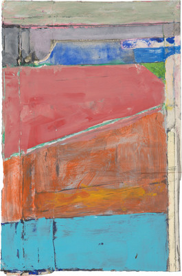 Richard Diebenkorn, Untitled, c. 1988-92, Gouache, pasted paper, graphite, and crayon on paper 9 1/2 x 6 5/16 in. (24.1 x 16 cm) (c)The Richard Diebenkorn Foundation.  (PRNewsFoto/College of Marin, The Richard Diebenkorn Foundation.)