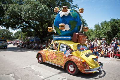 Fuddruckers' submission at the 26th Annual Houston Art Car Parade on May 11, 2013.  (PRNewsFoto/Luby's, Inc.)