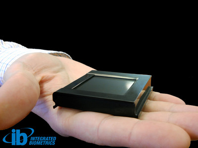 The World's Lightest, Thinnest, Smallest, Appendix F Mobile ID Fingerprint Sensor.  (PRNewsFoto/Integrated Biometrics)