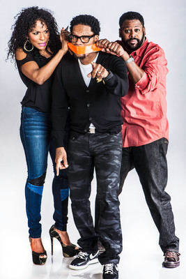 THE D.L. HUGHLEY SHOW Debuts On Radio Today (left to right Jasmine Sanders, D.L. Hughley, Steve Wilson).  (PRNewsFoto/REACH Media, Inc., Rance Elgin)
