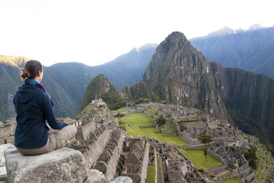 Meditating at Macchu Picchu, where Crystal guests can visit during the 2015 World Cruise.