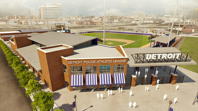 Architectural Rendering of new Detroit PAL youth sports complex and headquarters at Michigan and Trumbull, site of the historic old Tiger stadium.