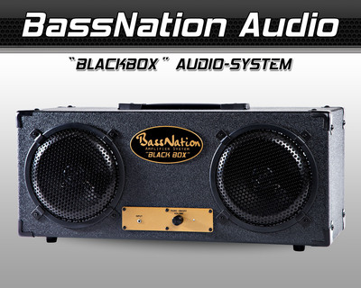 BassNationAudio.com's New 'BlackBox' Audio System is powered, all-wood, docks with any music source device (Smartphone, iPod, iPhone, MP3, PC/Mac) with its audio output jack for music anytime and anywhere. And, at Only $295 it's a powerful play with its real wood enclosure and sound performance. BlackBox is a single box plug-and-play audio system that's perfect for music enthusiasts that need simplicity, performance and a compact system. It's ideal for TVs - home theaters, dorm rooms, DJs and Gamers looking for powerful clear and accurate sound with deep bass and more.  (PRNewsFoto/BassNation Audio)