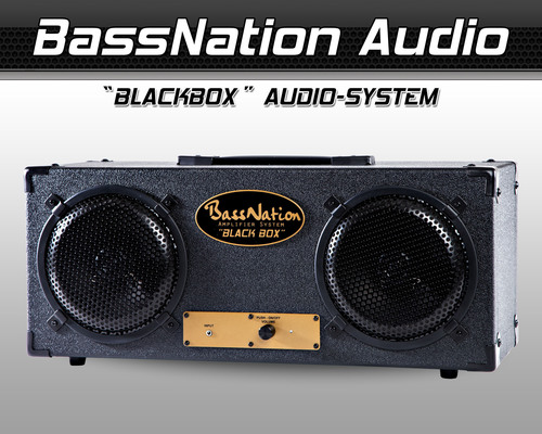BassNationAudio.com's New 'BlackBox' Audio System is powered, all-wood, docks with any music source device (Smartphone, iPod, iPhone, MP3, PC/Mac) with its audio output jack for music anytime and anywhere. And, at Only $295 it's a powerful play with its real wood enclosure and sound performance. BlackBox is a single box plug-and-play audio system that's perfect for music enthusiasts that need simplicity, performance and a compact system. It's ideal for TVs - home theaters, dorm rooms, DJs and Gamers looking for powerful clear and accurate sound with deep bass and more. (PRNewsFoto/BassNation Audio) (PRNewsFoto/BASSNATION AUDIO)