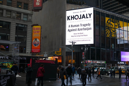 The Azerbaijan America Alliance continues its public awareness multimedia campaign to commemorate the 22nd Anniversary of the Khojaly Massacre. The campaign aims to educate Americans about the massacre of 613 innocent Azeri civilians by Armenian and Russian soldiers 22 years ago in the village of Khojaly, located in the western Azerbaijani region of Nagorno-Karabakh. On February 26, 1992, in the course of 24 hours, 444 mostly elderly men, 106 women and 63 children were brutally killed. Learn more at www.azerbaijanamericaalliance.org. (PRNewsFoto/Azerbaijan America Alliance) (PRNewsFoto/AZERBAIJAN AMERICA ALLIANCE)