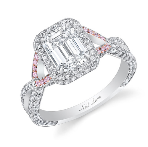 Romantic emerald-cut diamond ring encrusted with 208 small round diamonds and accented with 16 pink diamonds. ...