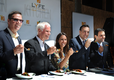 LYFE Founder Steve Sidwell, LYFE CEO Mike Roberts, Olympian Janet Evans and Doctors Anthony Cardillo and Armand Dorian lift a fork of great tasting, good for you food at LYFE Kitchen Fork Lifting to break ground on first location in Palo Alto, California.