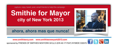 Time is now!  A candidate and the city as his constituency.  (PRNewsFoto/Friends of Smithies New York)