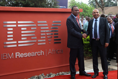 H.E. the President of Kenya, Hon. Uhuru Kenyatta (left) and Dr. Kamal Bhattacharya, Director IBM Research - Africa (right) at the opening of IBM's First Africa Research Laboratory.  (PRNewsFoto/IBM Research)