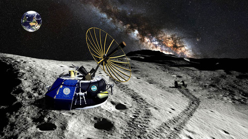"The Moon Express ""MX-1"" robotic lunar lander spacecraft uses innovative exponential technologies and green fuels to reach the surface of the Moon from Earth orbit. (PRNewsFoto/Moon Express, Inc.)"