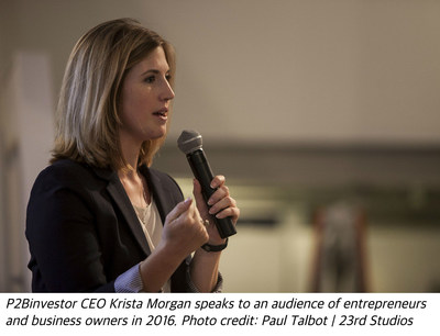 P2Binvestor CEO Krista Morgan speaks to an audience of entrepreneurs and business owners in 2016. Photo credit: Paul Talbot | 23rd Studios