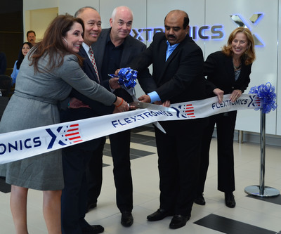 Photo left to right - Leslie McBride, Deputy Director Business Investment Services, Office of California Governor Edmund G. Brown; Jose Esteves, Mayor of Milpitas, California; Francois Barbier, Flextronics President of Global Operations and Components; Zahid Hussain, Vice President Operations, Flextronics Milpitas; Becky Roller, Senior Vice President Marketing & Communications, Flextronics. (PRNewsFoto/Flextronics) (PRNewsFoto/FLEXTRONICS)