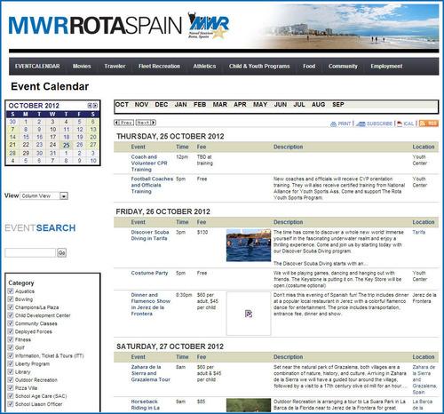 MWR Rota Events Calendar.  (PRNewsFoto/Trumba Corporation)
