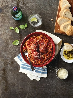 Spaghetti and Meatballs Topped with Romano