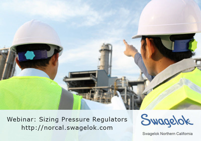 Oversizing a pressure reducing regulator can cause spikes in downstream pressure. Undersizing can cause faster seat erosion. Learn about proper sizing in a Jan 17th webinar and at our website: http://norcal.swagelok.com. Our Resource Room also provides catalogs, articles, and videos on pipe fittings, hoses, tubing, sealants, and more.  (PRNewsFoto/Swagelok)