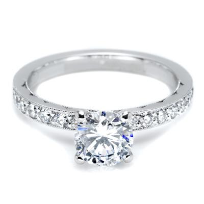 Tacori Platinum engagement ring with pave diamonds by Tacori, starting from $3,580 (not including center diamond).  (PRNewsFoto/Platinum Guild International USA, Tacori)