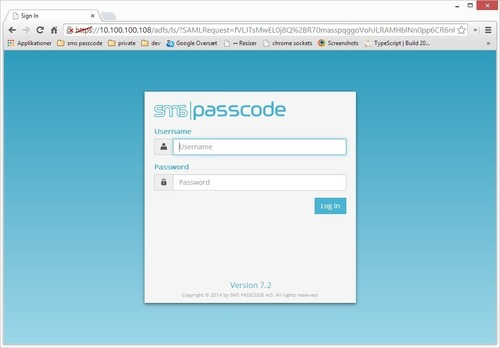 Login screen for the SMS PASSCODE solution (PRNewsFoto/SMS PASSCODE)