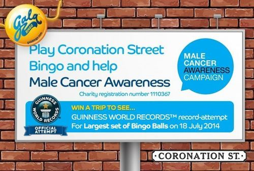 GalaBingo.com visits Coronation Street to play with 'world's biggest bingo balls' in fundraiser for Male Cancer Awareness Campaign (PRNewsFoto/Gala Interactive)