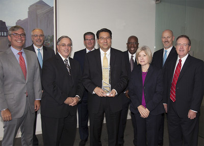 Pictured (left to right), during CNA's presentation of its Safety in Excellence Award to Fresenius Medical Care-North America, are: Wes Farish, senior vice president of Client Executive Practice, Marsh, Dave Rutkowski, chief commercial accounts officer, CNA, Bill Boyd, senior vice president, Risk Control, CNA, Mike Stapleton, senior vice president, Claim Administration, CNA, Larry Park, vice president of Corporate Health, Safety, Environmental Affairs, Engineering, Security and Risk Management, Fresenius, John Tatum, senior vice president of Middle Markets, CNA, Esther Foody, assistant vice president, Underwriting, CNA, Eric Bishop, vice president of Finance, Administration, Fresenius, and Kyle Langill, assistant vice president, Underwriting, CNA.