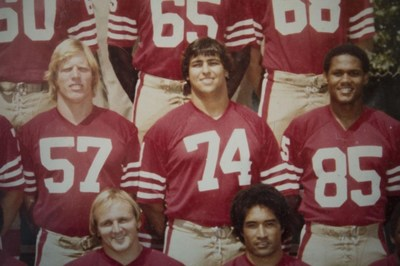 A close up of the 49ers' 1981 Team: Visger wears #74.