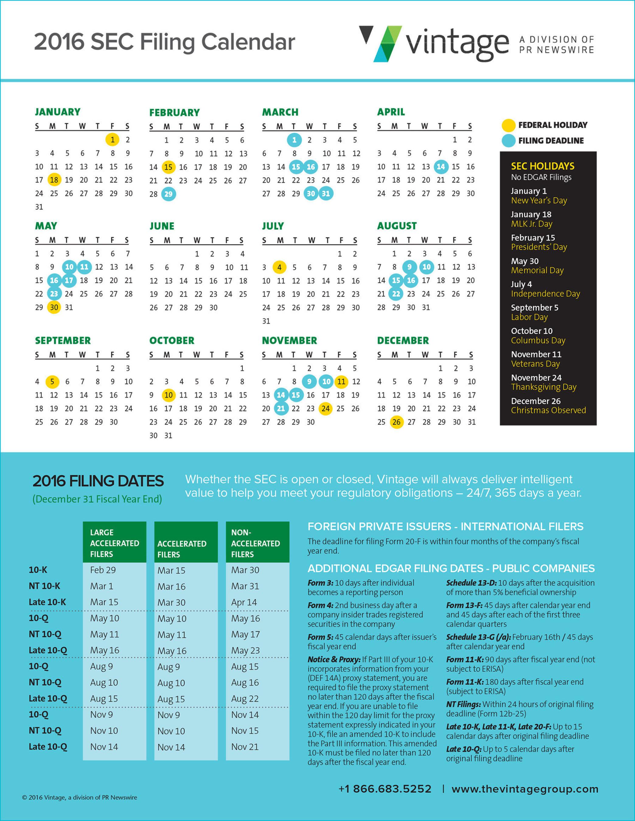 Download the SEC Holiday and Filing Deadline calendar now: http://e.prnewswire.com/SEC-2016-Calendar-email.html