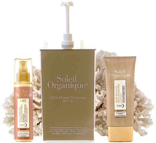 Soleil Organique's 100% Mineral Sunscreen Mist SPF 45, 100% Mineral Sunscreen Lotion SPF 15 and After Sun Skin Solace Replenishing Lotion.  (PRNewsFoto/Soleil Organique)