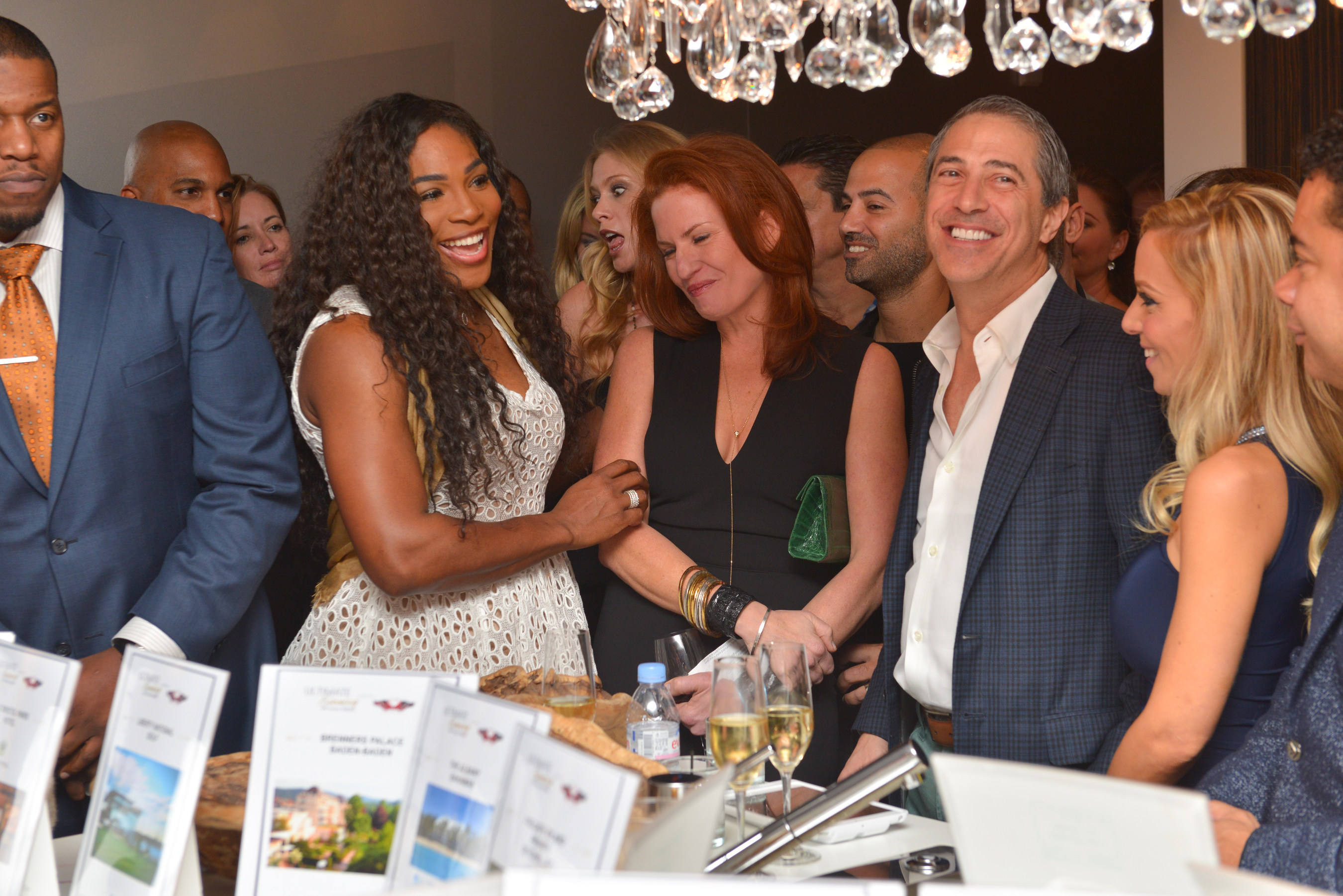 Serena Williams and Jessica Mindich, founder of The Caliber Foundation, at VIP charity event in Miami, FL where the Serena Williams Fund announced their partnership with The Caliber Foundation to end violence in America.