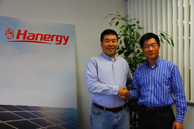 Hanergy Holding America's Chairman/CEO Mr. Wu and President Jeff Zhou.  (PRNewsFoto/Hanergy Holding America)