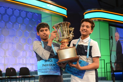 Nihar Janga (left), an 11-year-old speller from Austin, Texas, and Jairam Hathwar, a 13-year-old speller from Painted Post, New York, are co-champions of the 2016 Scripps National Spelling Bee, presented by Kindle.