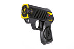 The new TASER Pulse conducted electrical weapon for consumers with 15 ft range.  Blast doors for public will be yellow.