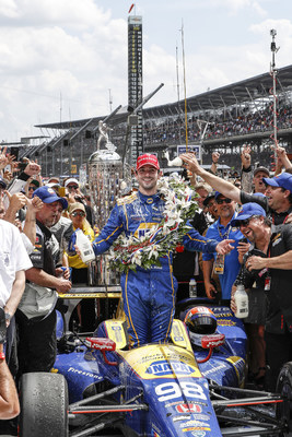 Rookie Alexander Rossi celebrates in Indy 500 Victory Circle