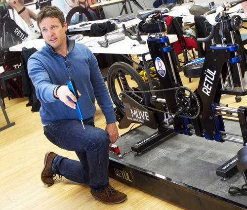Todd Carver, Chief Fit and Education Officer of Retul demonstrates motion capture bike fit technology at a ...