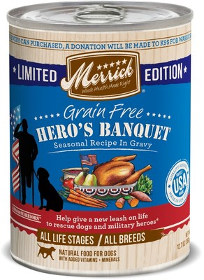 Merrick launched a limited-edition special can recipe of Merrick dog food, Hero's Banquet, last fall, honoring American military veterans. The 12.76 oz. can will now be available nationally year-round at Petco, independent pet supply stores and online with a suggested retail price of $2.99 beginning in September.