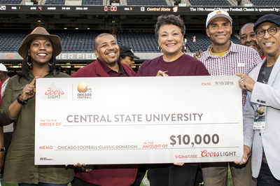 Coors Light donates $10,000 in scholarships to Central State University at the 19th annual Chicago Football Classic on September 10th at Soldier Field in Chicago, IL.
