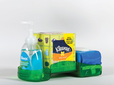 The Healthy Classroom Station from Kimberly-Clark Professional empowers students to fight germs in their classrooms by encouraging them to Wash, Wipe and Sanitize with kid-friendly products. A new study found that when students were provided with the tools and knowledge necessary to break the chain of germ transmission in the classroom, contamination levels were significantly reduced throughout the entire school.  (PRNewsFoto/Kimberly-Clark Professional)