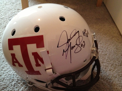 Autographed Texas A&M Football helmet signed by 2012 Heisman winner Johnny Manziel to help raise funds for a wounded veteran.  (PRNewsFoto/SouthStar Communities)