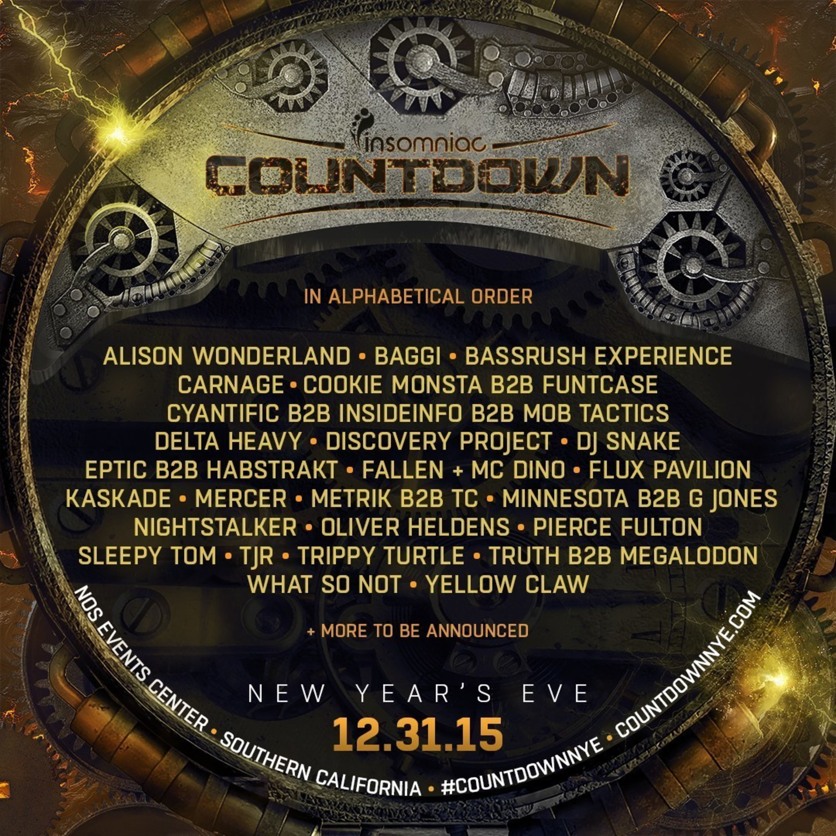Insomniac Reveals Massive Multi-Genre Lineup For 2016 Countdown New Year's Eve Celebration
