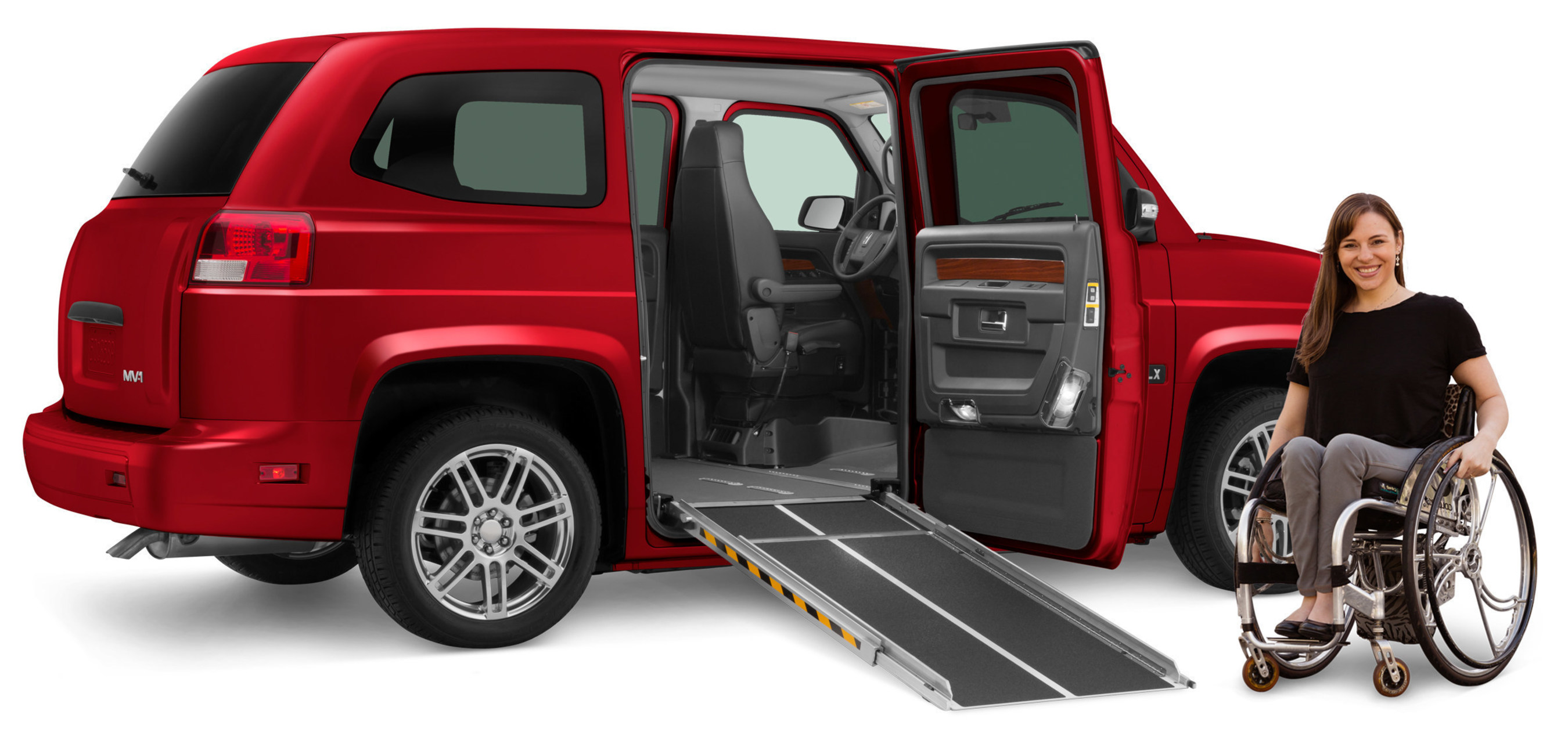 Highlighting the roster of new features on the 2016 MV-1 is a power passenger door, operated by a remote keyless fob to provide people using wheelchairs with a new level of independence. The power passenger door can be paired with MV-1's innovative side-entry power ramp and a new optional power liftgate to create a complete suite of automated functions for the wheelchair passenger or driver.