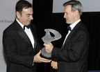 Carlos Ghosn, CEO of the Renault-Nissan Alliance, receives Action Against Hunger's Humanitarian Award at the organization's annual gala Thursday night at the Museum of Modern Art in New York. Handing Mr. Ghosn the award is Raymond Debbane, Chairman of the Board of Directors of Action Against Hunger. The group honored Nissan, Renault and the Alliance for their global humanitarian work, including the establishment of an emergency rapid-response fund to assist with humanitarian disasters. Photo by Stephane Kossmann