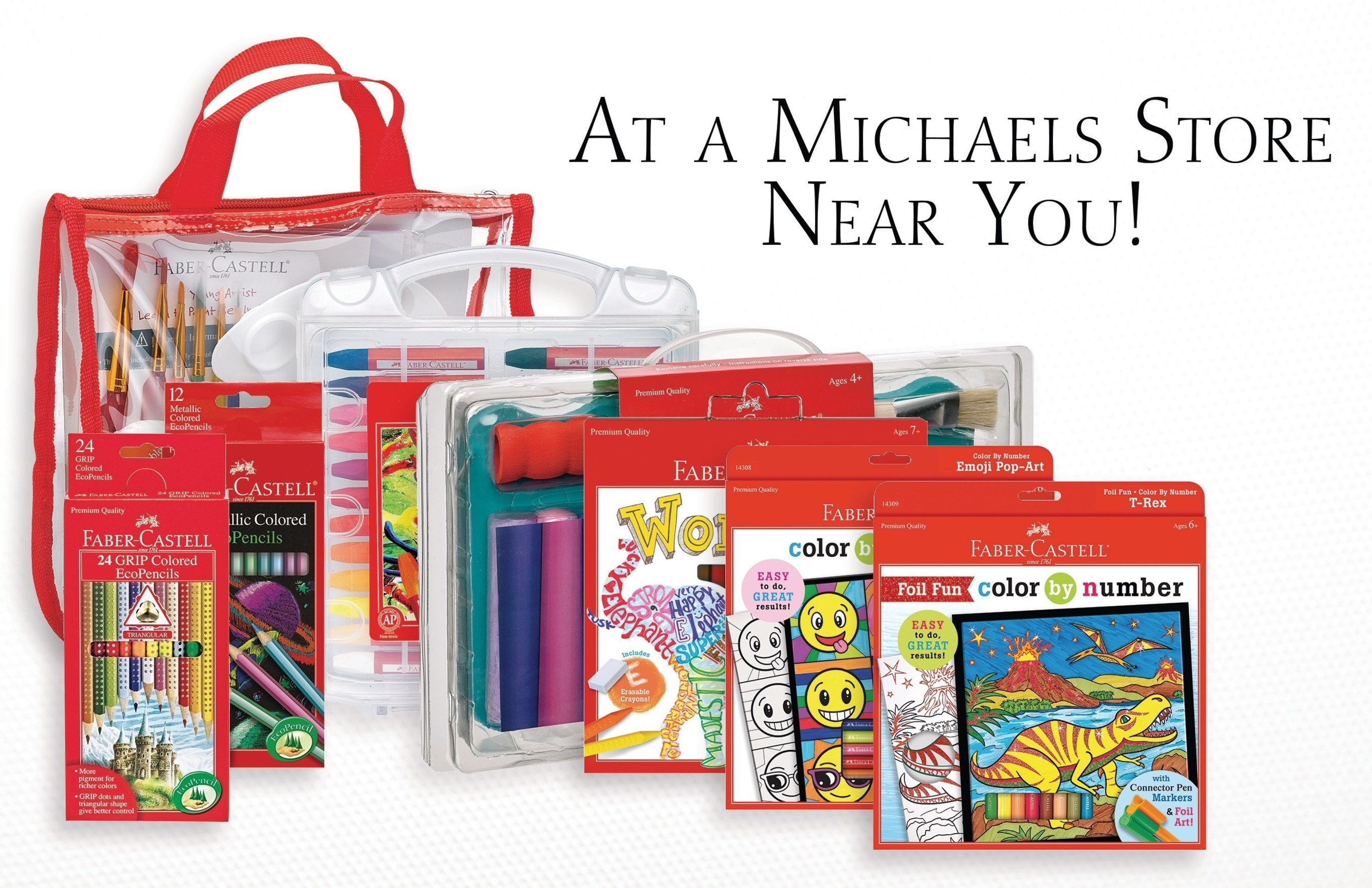 Faber-Castell Premium Children's Art Products are now available at Michaels stores, featuring new products like Do Art Word Art and Color by Number Emoji Pop-Art.