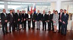 Members of the Penn Medicine leadership, Monaco's Princess Grace Hospital and the Monegasque Ministry of Social Affairs and Health announce the launch of the Grace-Penn Medicine Concierge Service with His Serene Highness, Albert II Prince of Monaco in Monte Carlo (PRNewsFoto/Penn Medicine)