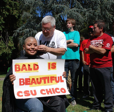 California State University student, Sandra Torres, shaved her head in honor of patients at St. Jude Children's Research Hospital as part of Chico's Up 'til Dawn awareness week.  (PRNewsFoto/St. Jude Children's Research Hospital)