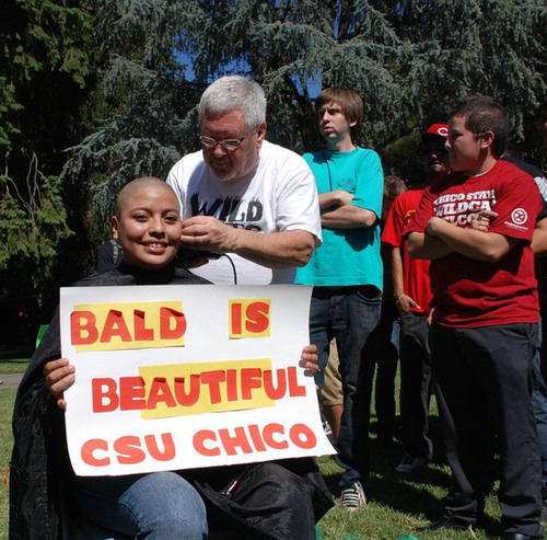 California State University student, Sandra Torres, shaved her head in honor of patients at St. Jude ...