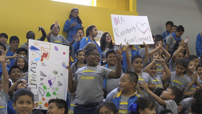 Students at IDEA Rundberg Public School in Austin, Texas await Kevin Durant's arrival.