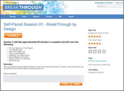 Break Through Bt Design Self Pace Learning. (PRNewsFoto/Knowledge Anywhere) (PRNewsFoto/KNOWLEDGE ANYWHERE)