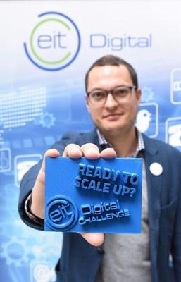 "EIT Digital Challenge Lead Dominik Krabbe seeks startups that are ""Ready to scale up"" (Logo 3D printed by former winner 3Yourmind) (PRNewsFoto/EIT Digital)"