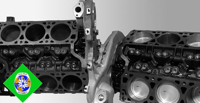 """Engine Blocks (left) with and (right) without """"Metal - Ringless Ceramic Pistons"""".(PRNewsFoto/NIAMA-REISSER, LLC)"""